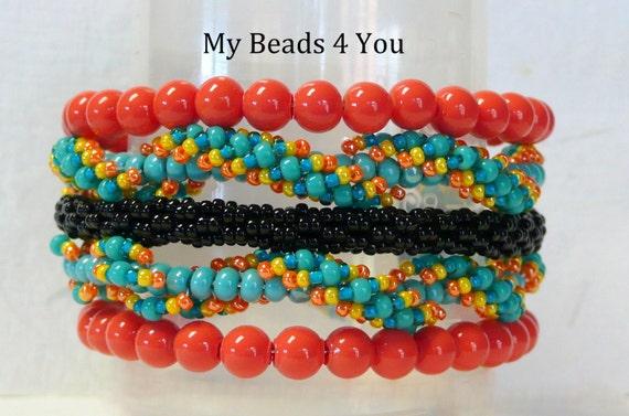 Jewelry, Memory Wire Bracelet, Spiral Bracelet, Peyote Bracelet, Seed Bead Bracelet, Beaded Memory Wire Bracelet, Beadwork Bracelet, Gift