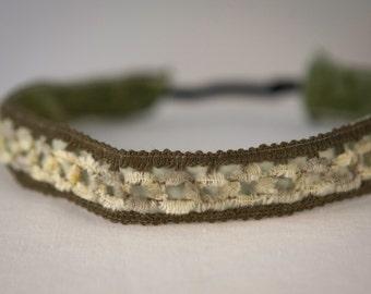 No Slip Headband Olive Chenille Lace