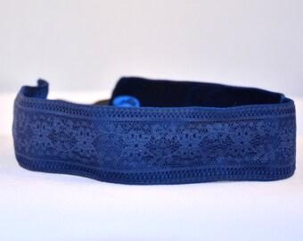 "No Slip Headband Navy Blue Lace Wide 1.5"""
