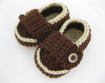 Baby Boy Shoes / Slippers / Booties - Tan & Dark Brown - YOUR choice size - (newborn - 12 months) - photo prop - children