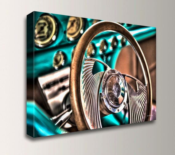 """Classic Car - Steering Wheel - Close Up - HDR Photography - Canvas Print - Vintage Hot Rod - Turquoise & Bronze Wall Decor - """" Drivers Seat"""""""