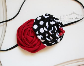Red and Black flower headband, baby headbands, newborn headbands, red headbands, photography prop, black headbands