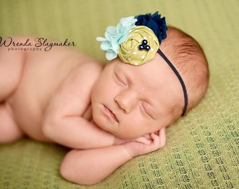 Navy, Aqua and Green flower headband, navy blue headbands, baby flower headbands, photography prop, aqua headbands