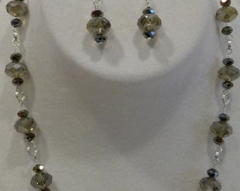 Iridescent Shades of Taupe Glass 18 Inch Necklace and Earring Set