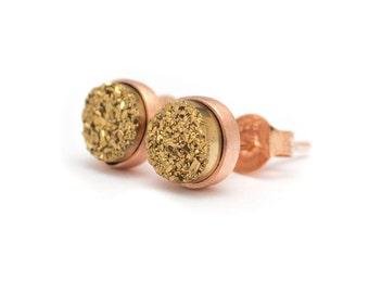 Drusy Quartz Stud Earrings - 24k Gold Vermeil - 6mm Round - Gold Drusy Quartz