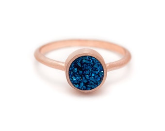 Royal Blue Druzy Quartz in Rose Gold Ring - 18k Rose Gold Vermeil - Bezel - Sizes 4.5, 5, 5.5, 6, 6.5, 7, 7.5, 8, 8.5, 9, 9.5 and 10