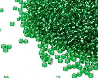 Miyuki Seed Bead, Silver Lined Peridot, (#16), Rocaille. Size 15/0 - 10 gram bag