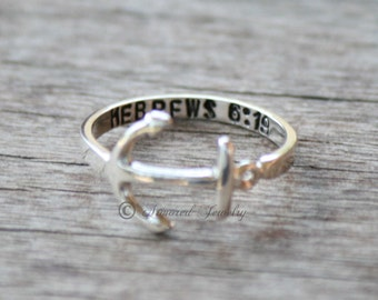 Anchor Ring, Personalized ring, Hebrews 6:19, Navy ring, Anchor Jewelry, Military ring, Customizable, Anchor Jewelry, dainty ring, silver