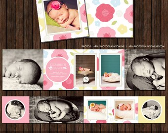 3x3 Floral Mini Accordion Album Template - A12