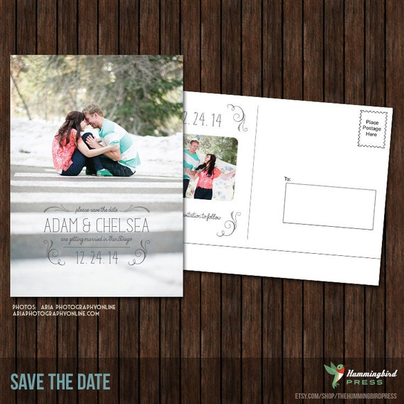 Items similar to 5x7 save the date postcard template s22 for Save the date psd