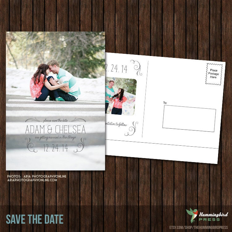 5x7 save the date postcard template s22 by thehummingbirdpress. Black Bedroom Furniture Sets. Home Design Ideas