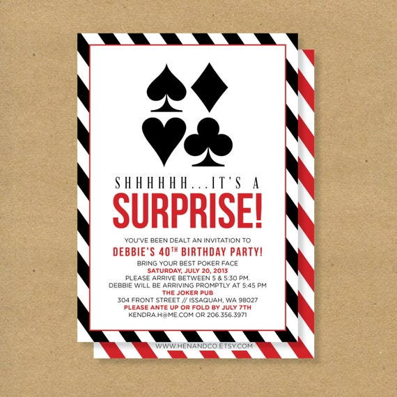 POKER Theme SURPRISE PARTY Printable Birthday Invitation