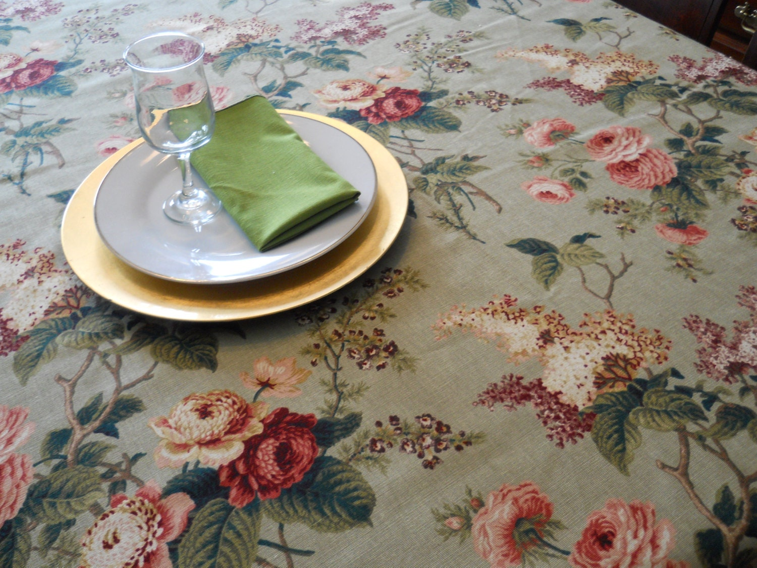Table cloth green floral table linen christmas thanksgiving for Table 52 thanksgiving