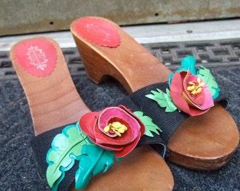 LULU GUINNESS London Unique Flower Wood Sandals Size 39