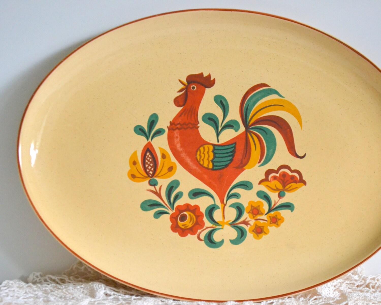 Vintage rooster platter colorful decor serving plate dish for Plaque decorative cuisine