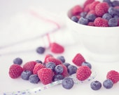 Food Photography - Kitchen Art - Berries - Fruit - Dining Room Decor - Kitchen - Fine Art Photography Print - Red Blue White Home Decor