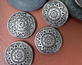 Vintage Tribal Sun Disc Beads, 18x6mm.  8 pcs.