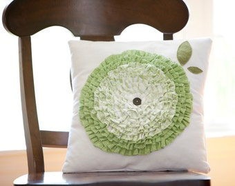 "Green Ruffle Flower Pillow Cover (for a 16x16"" pillow)"