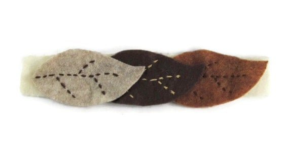 Nature Inspired Chocolate Brown, Tan, and Sandstone Hand Embroidered Felt Leaves Cuff