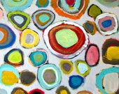 Colorful Circle Painting, Abstract Painting, Original Painting On Canvas, Beach Painting, 16 x 20