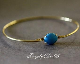 Bright Turquoise blue glass gold Bangle bracelet