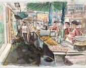 Street  Market, Bangkok, acrylic colour on handmade  paper