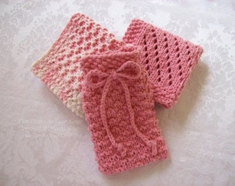 Soap Saver & Knit Spa Wash Cloth - Texture and Lace Collection - Cotton Wash Cloths - Hand Knit in Rose and Ombre Cotton Yarn