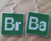 Breaking Bad logo periodic elements cross stitch dangle earrings