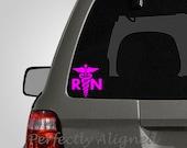 Nursing RN with Caduceus Symbol Vinyl Car Decal - medical decal - car decal - nursing sticker