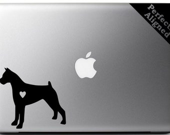 Love your Boxer - silhouette with heart vinyl Macbook decal - pet decal, dog decal, macbook decal, etc...