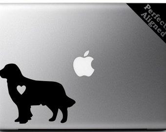 Love your Golden Retriever - silhouette with heart vinyl Macbook decal - pet decal, dog decal, macbook decal, etc...