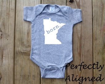 Minnesota Home State with BORN Unisex Infant Bodysuit/Creeper - Baby Boys or Girls