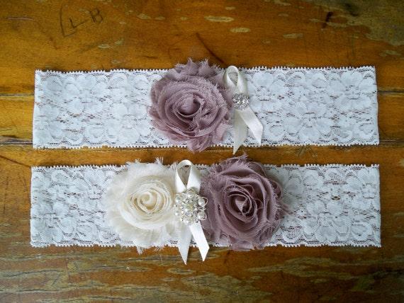 Wedding Garter , Garter Set , Lace Garter , Keepsake Garter , Ivory garter ,  Mocha Garter Neutral garter