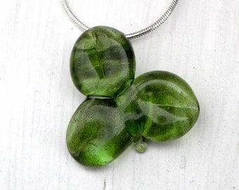 St Patrick's Day Shamrock, Clover Glass Boro Necklace, Lucky Charm Pendant