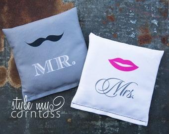 Cornhole Bags - Full Set (8 bags)  // Mr. & Mrs. (Mustache and Lips)