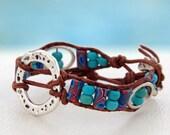 Wyoming... leather wrap bracelet... Original OceanBead Style.