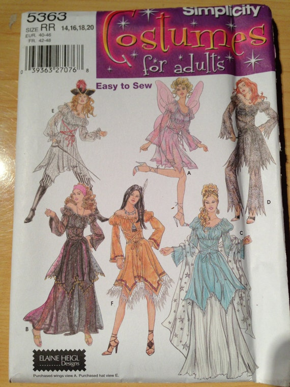 Simplicity Pattern 5363 Misses Sexy Costumes Pirate, Fairy, Gypsy, Indian, Witch and Princess Size 14-20