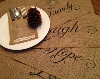 Set of 6 Burlap Placemats with words theme