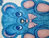 Teddy Bear -  Pillow Fabric Panel - 1950's Vintage - Blue - Handpainted