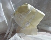 Heirloom Magic Baby Bonnet Pale YELLOW delicate crochet lace around all edges one full corner crochet