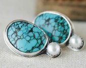 Turquoise and Pearl Stud Earrings in Sterling Silver