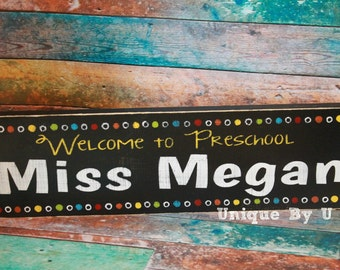 Handpainted multi colored teacher classroom sign. Welcome to grade. Bright with polka dots.