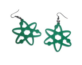 Green Atom Earrings, Science, Laser Cut Jewelry