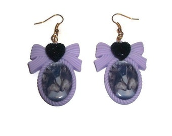 Wolf Cameo Earrings Pastel Goth Soft Grunge Cute Pastel Animal Cameo Dangle Earrings