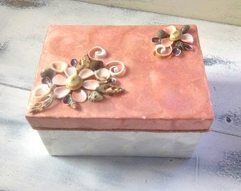 Vintage Capiz Shell Storage Box with Shell Adorned Top
