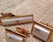 Vintage White Cuff Link Set with Rhinestones
