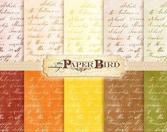 "Vintage Handwriting 10 Piece Digital Scrapbooking Paper Pack, 8.5""x11"", 300 dpi PDF Fall Autumn INSTANT DOWNLOAD"