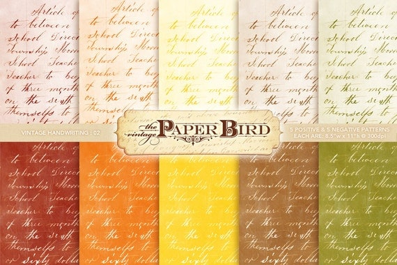 "Vintage Handwriting 10 Piece Digital Scrapbooking Paper Pack, 8.5""x11"", 300 dpi .jpg Fall Autumn INSTANT DOWNLOAD"