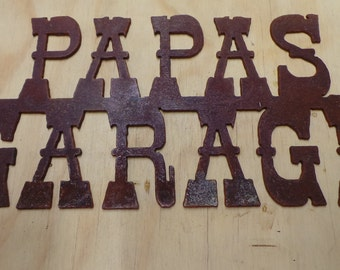 FREE SHIPPING Rusted Rustic Metal Papas Garage Sign