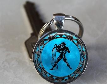 Aquarius Zodiac Astrology Horoscope Glass Dome Keychain (GDKC0327)